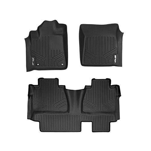 MAXFLOORMAT Floor Mats 2 Row Set Black for 2014-2018 Toyota Tundra Double Cab (With Coverage Under 2nd Row Seat)
