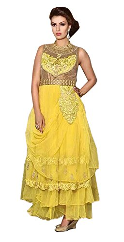 INMONARCH Womens Embroidered Yellow Net Gown GRD889 unstitched