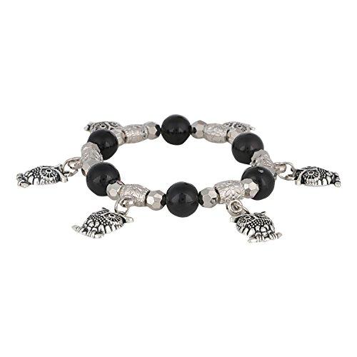 Plated Stretch Silver Bracelet Beaded (Efulgenz Handmade Black Stone (8 mm) Beaded Stretch Silver Plated Hanging Owl Charm Bracelet for Women and Girls)