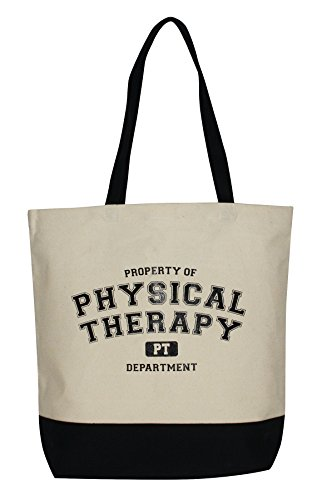 Property of Physical Therapy Canvas Tote - Black and Tan