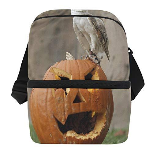 Lovexue Lunch Bag Halloween Pumpkin Owl Reusable Cooler Bag Adult Leakproof Food Storage Zipper Tote Bags for Outdoor]()