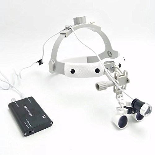 EAST Dental 2.5X420mm White Color Binocular Loupe Surgical Leather Headband Glasses+3W LED Headlight by East Dental (Image #6)
