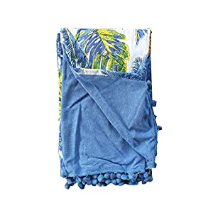 Asciugamano Pareo da Spiaggia Telo Mare con PON PON Doppio Tessuto 100% Cotone Motivo Floreale Palme 100% Spugna di Microfibra Colore Azzurro Blu Misura CM 100X180 5 spesavip