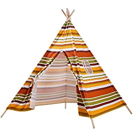 Touch-Rich 6FT Durable Teepee for Kids, Indian Play Tent, Sturdy & Safe Kids' Furniture with Window & Floor, Including Style Matching Accessories &Two Pillowcase