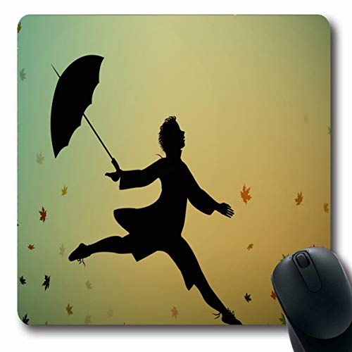 Ahawoso Mousepads Memory Ballet Young Jumps Holding Umbrella Autumn Parks Falling Hand Black Boy Childhood Colored Oblong Shape 7.9 x 9.5 Inches Non-Slip Gaming Mouse Pad Rubber Oblong - Jumper Ballet