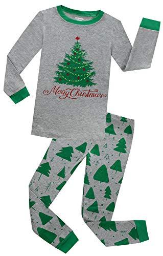 BABES HOME Boys Christmas Pajamas Little Girls Pjs Set Kids Jammies Cotton Sleep Clothes (Grey,3T)
