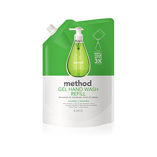 Cosmetics Cucumber (Method Gel Hand Soap Refill, Cucumber, 34 Ounce (Pack 6))