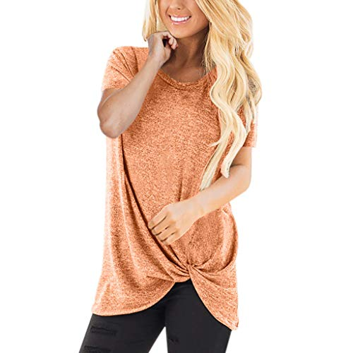 HIRIRI Summer Soft Loose Women's Tops Twist Knotted Blouses Short Sleeve Round Neck Tunic T Shirt Orange