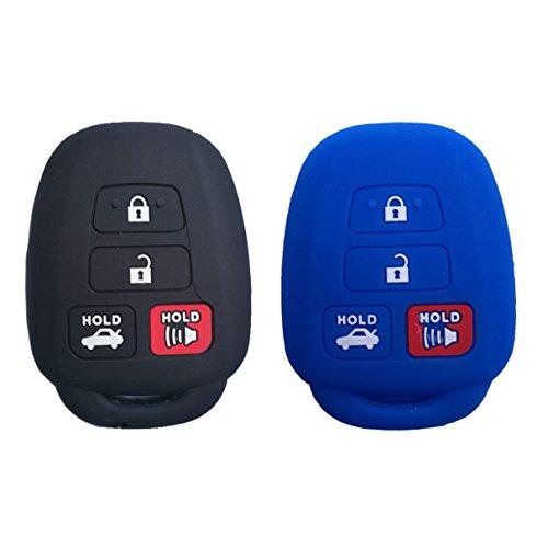 (2Pcs Coolbestda Car Full Key fob Case Skin Jacket Holder Protector Wallet for Toyota Camry SE LE Avalon Corolla RAV4 Venza Highlander Sequoia HYQ12BDM Black)