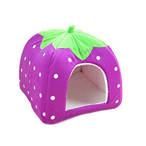 Gilroy Pet Kennel Dog Cat Puppy Bed Strawberry Mat Basket (XL, Purple )