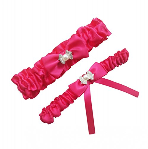 Miranda's Bridal Women's Satin Bridal Garters Wedding Garters With Bow Hot (Hot Pink Wedding)