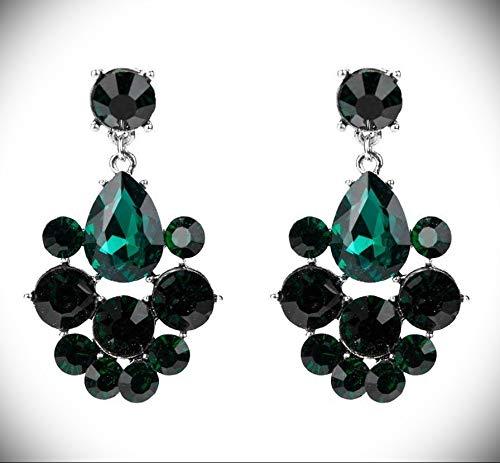 "2.32"" Forest Green Silver Long Teardrop Crystal Pageant Bridal Earrings Formal"