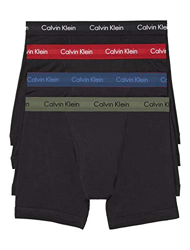 Calvin Klein Men`s Cotton Boxer Briefs 4 Pack (Black(np2009-935)olivebardo, X-large)