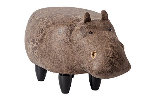 PIQUU Padded Soft Hippo Ottoman Footrest Stool/Bench for Kids Gift and Adults (Dark Brown ) (Ottoman Small Wooden)