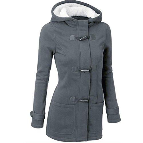Chaqueta Capa Jacket Oscuro Abrigo Invierno de Gris Capucha Pullover Sudadera con Casual Mujer Parka Lana ZHg6zqYY