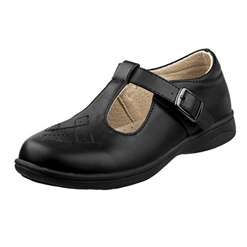Flat Classic Girls (Laura Ashley Girls School Uniform Shoes with Elastic Gore Buckle, Black Classic, 13 M US Little Kid')