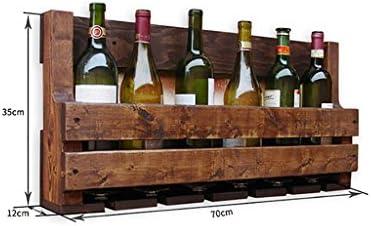Vinoteca de Pared de Pino/Estantería de Pared/Estantería de decoración/Estante de Vidrio de Vino para cenar, cocinas (70 * 35 * 12cm)