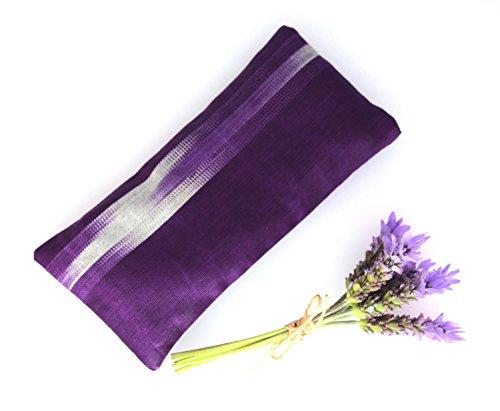 Relaxing Lavender Eye Pillow Uzbek Ikat Silk Purple Removable Cover Gift Idea Yoga Retreat Sleep Essential Aromatherapy Silk Sleeping Mask - Silk Ikat Pillow Cover
