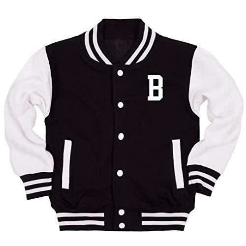 B Monogrammed Kids Jacket: Youth Varsity Letterman Jacket Black/White for $<!--$49.97-->