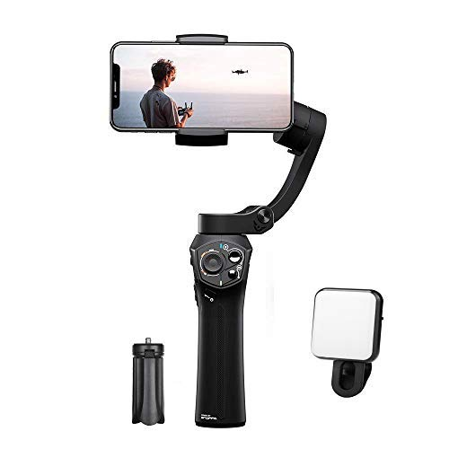 Snoppa Atom 3 Axis Foldable Gimbal for Smartphone & GoPro Hero 4 5 6, Wireless Charging, Built-in Mic Jack, One-Key Switch V/H Orientation, 310g Payload, W Mini Tripod, Black by Snoppa
