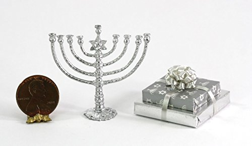 Dollhouse Miniature Jewish Chanukah Collection with Silver (Collection Menorah)