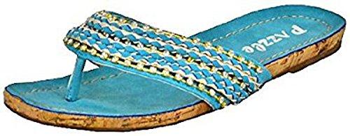 01 Pazzle azul mujer de Moon sandalias planas pq4qaUw