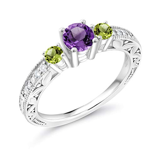 Gem Stone King 0.85 Ct Purple Amethyst Green Peridot 925 Sterling Silver 3-Stone Engagement Ring (Size 6) ()