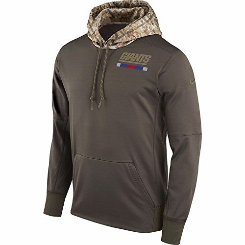 Nike New York Giants Salute to Service Sideline Therma Pullover Hoodie (Green, Medium)