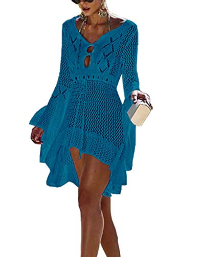 FINCATI Women Swimwears Cover up Kimono Crochet Hollow Out Flare Sleeve Sexy Mini Beach Dresses (Peacock Blue)