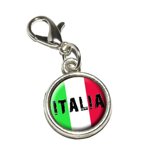 Graphics and More Italia Italy Italian Flag Antiqued Bracelet Pendant Zipper Pull Charm with Lobster Clasp