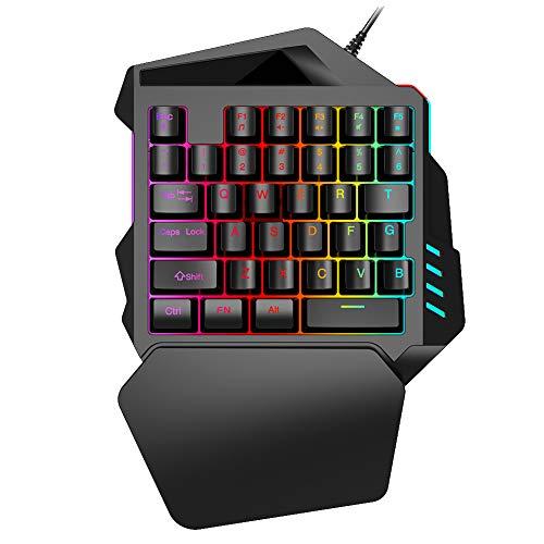 Matedepreso One Handed Mechanical Gaming Keyboard RGB LED Backlit Portable Mini Gaming Keypad 35 Keys Anti-ghosting…