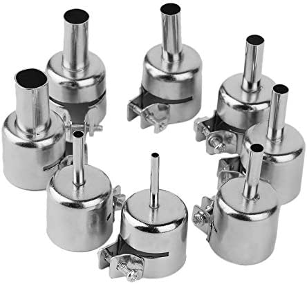 8 piezas de pistola de aire caliente BGA Kits de herramientas para 850 852D Series Estación de soldadura de aire caliente Rework ICs Reparación de herramientas Boquilla - Plata