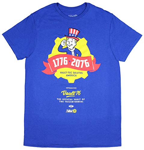 Bioworld Fallout 76 Tricentennial 1776-2076 Vault 76 Vault-Tec Salutes America Officially Licensed T-Shirt Tee (X-Large\) - Cotton Ringer T-shirt Tagless