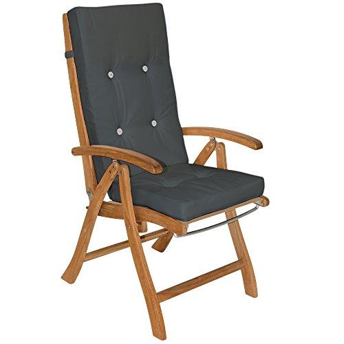 6x Coussin De Chaise - 100%Polyester - Pour Chaise à Dossier Haut Gris