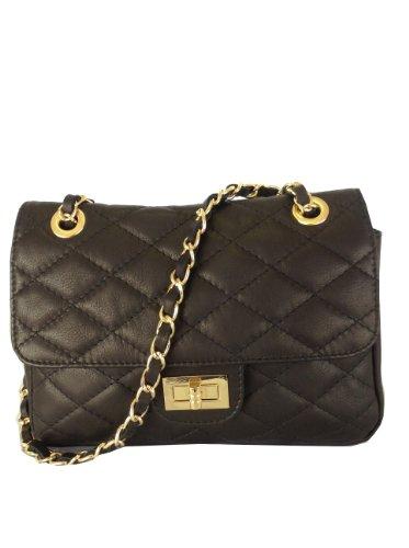 Black Quilted Italian Calf Leather Handbag or Shoulder Bag