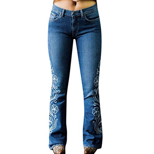 VEZAD Women High Waist Embroidery Jeans Button Pocket for sale  Delivered anywhere in USA