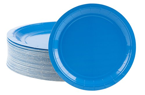 Disposable Plates - 80-Count Paper Plates, Party Supplies for Appetizer, Lunch, Dinner, and Dessert, Blue, 9 x 9 inches
