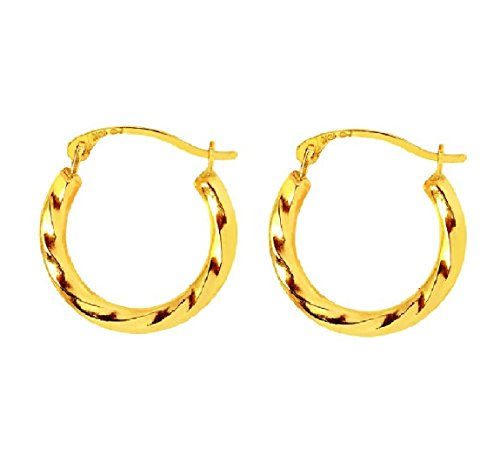 14k Yellow Gold Small Shiny Swirl Textured Round Small Hoop Earrings Snap Closure (Small Swirl Earrings)