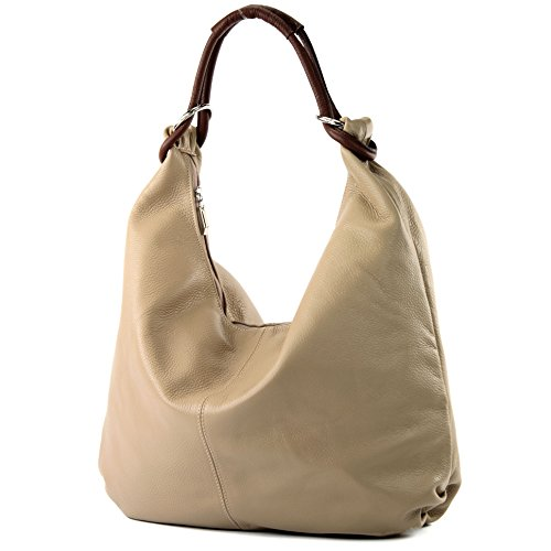 Italian bag women's bag handbag hobo bag leather bag 337 Beige / Brown