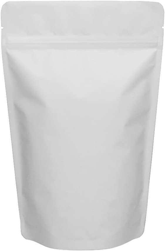 Santmira Pack of 100 (16 oz - (190 x 260 mm)) - Resealable Stand up White Matte Pouches for Reusable Storage, with Zip Lock, Inner Aluminium (Mylar) Foil Lining for Food Packaging & Storage of Drink.