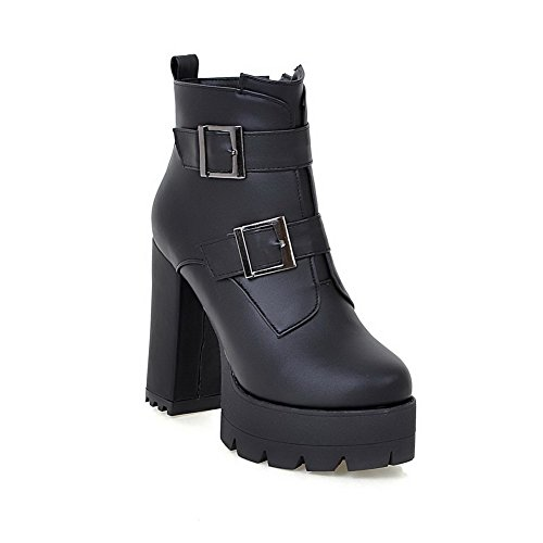 AgooLar Material Women's Low Black Closed Boots High Toe Heels Soft Zipper Round top rErUfq