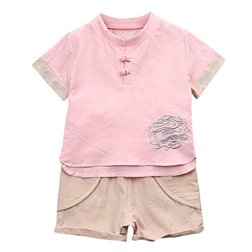 Toddler Kids Newborn Baby Boys Summer Tang Suit Clothes Set Dragon Short Sleeve T-Shirt Tops+Shorts 2Pcs Outfits (Pink, 12-18 Months)