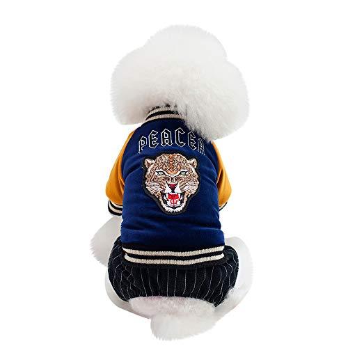 (PENATE Dog Winter Warm Knitted Sweater Small Pet Apparel Mini Putty Cute Tiger Printed Shirt Coat Soft Cotton Elastic Jacket Sweatshirt Halloween Doggy)