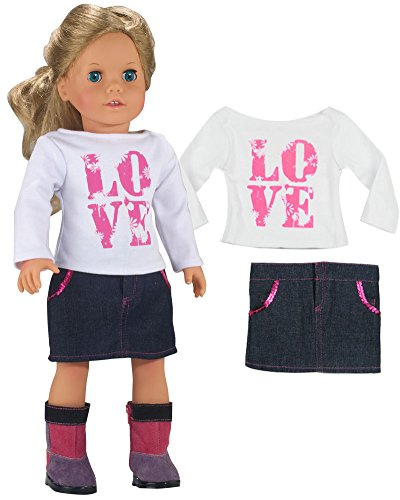 LOVE Shirt and Sequin Trim Denim Skirt Made by Sophias, Fits 18 Inch American Girl Dolls