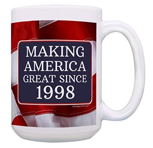 Basket America - 21st Birthday Gifts for All Making America Great Since 1998 Turning 21 Birthday Gift Ideas Maga Coffee Mug Birthday Mug Maga Gifts 15-oz Coffee Mug Tea Cup 15 oz American Flag