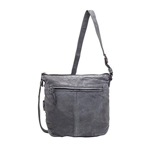 VOi Damen Umhängetasche 21073 Leder Crossover Bag elegante Schultertasche in Vintage Schwarz