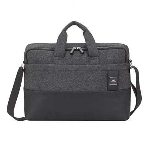 (Rivacase 8831 Slim Water Resistant Business Laptop Bag for Women/Men, fits 15-Inch MacBook Pro, 10-Inch Tablets, Black)