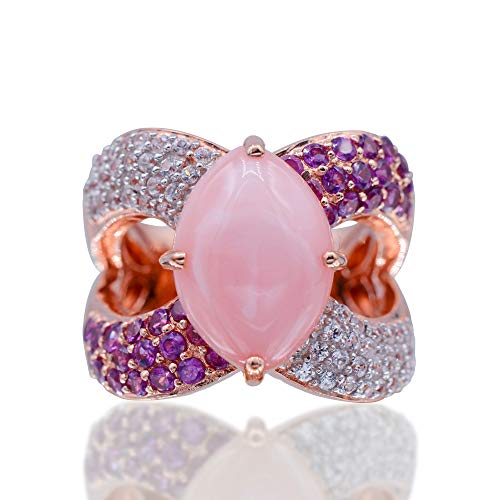 Women's 925 Sterling Silver Ring Rhodolite with Multi Gemstone Stud Rose Gold Tone. (5)