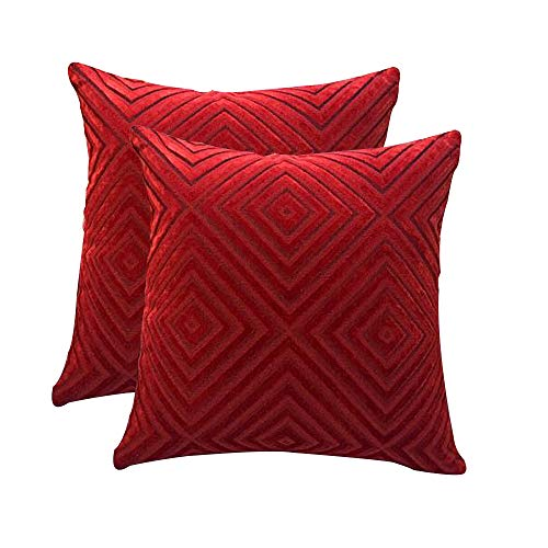 myfeel Pack of 2,Throw Pillow Covers,Soft Velvet Square Decorative Throw Pillow Covers, Cushion Cases Pillowcases for Sofa Bedroom Car 18 inch 45 cm [Red] (Sofa Large Red Throw)