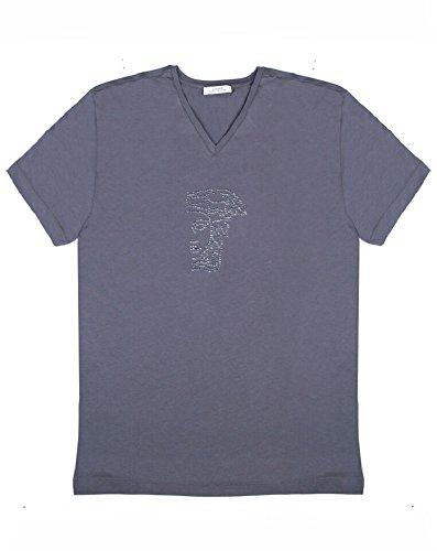 VERSACE Collection Gray V-Neck Half Medusa Studded Logo Short Sleeve T-Shirt (L) (Versace Bling)